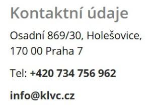 Mezi kontaktními údaji na webu KLV Consulting stále číslo mobilu Pavla Kočalky
